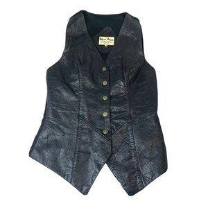 Vintage Mid Century Unisex Leather Vest Black